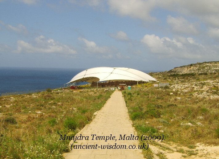 mnajdra temple covered, malta.